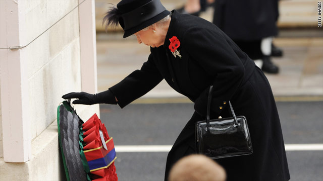 Queen Elizabeth II attends the Remembrance Sunday service at the Cenotaph on Whitehall.