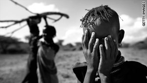 Villagers, such as these in Kenya, face hunger through a shortage of food and water.