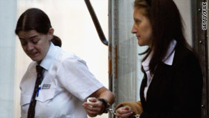 Jane Andrews, above right, arrives at the High Court, London, in September 2003 to appeal against her conviction.