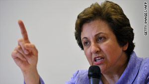 Iranian judge and activist Shirin Ebadi, pictured here in June, won the 2003 Nobel Peace Prize.
