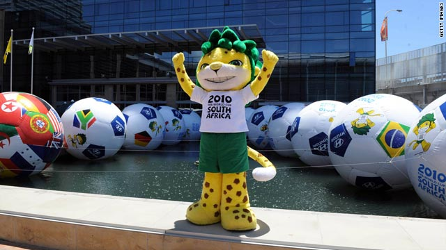 World Cup mascot Zakumi poses outside the Cape Town International Convention Centre.