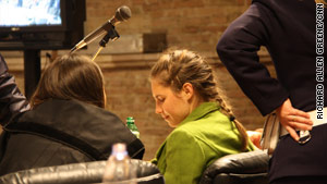 Amanda Knox sits in court during her murder trial in Perugia, Italy, on Thursday.