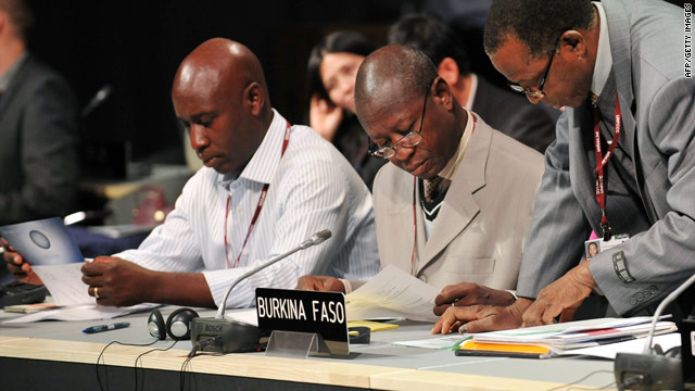 Delegates from Burkina Faso at the UN climate talks in Copenhagen which run from December 7 to 18.