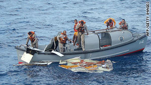A Brazilian navy frigate crew recover wreckage from the Air France crash in June 2009.