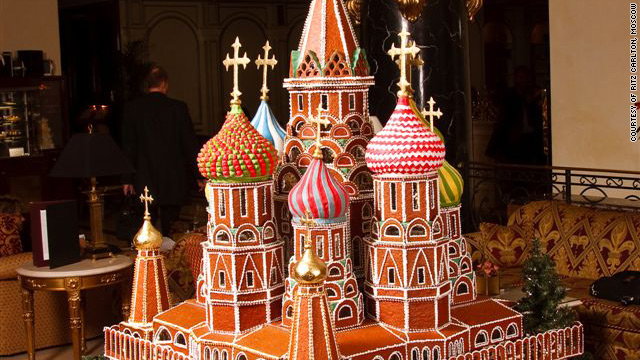 The replica of St. Basil Cathedral in Moscow is made of gingerbread and took three months to complete.