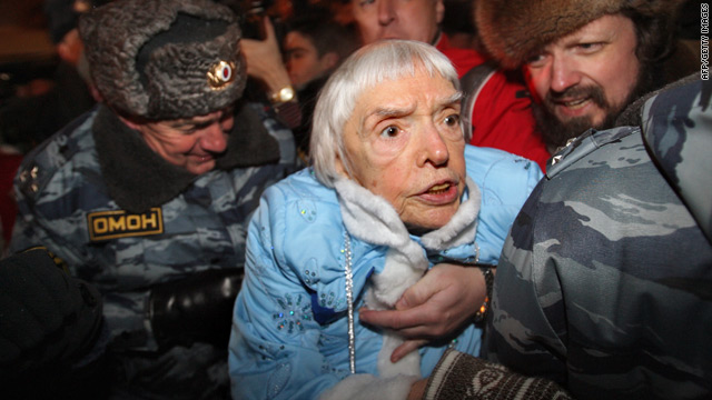 Police arrest Russian human rights advocate, former Soviet dissident, Ludmila Alexeeva at an unauthorized protest in Moscow.