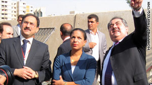 Susan Rice, U.S. ambassador to the U.N., surveys damage Saturday from an August blast at the Iraqi Foreign Ministry.