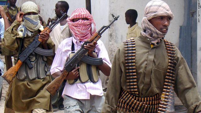 Al-Shabab militia patrol a market in Mogadishu, Somalia, in October.