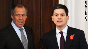 Russian Foreign Minister Sergei Lavrov, left, and British Foreign Secretary David Miliband meet Monday in Moscow.