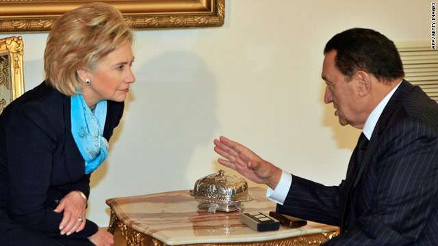 U.S. Secretary of State Hillary Clinton consults Wednesday with Egyptian President Hosni Mubarak in Cairo.