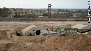 Covered tunnel entrances on the Gaza-Egypt border.