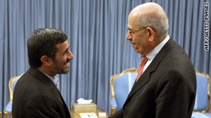 Iranian President Mahmoud Ahmadinejad (left) greets IAEA chief Mohamed ElBaradei in Tehran in October.