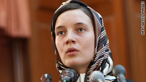 Clotilde Reiss defends herself during a hearing at a revolutionary court in Tehran on August 8.