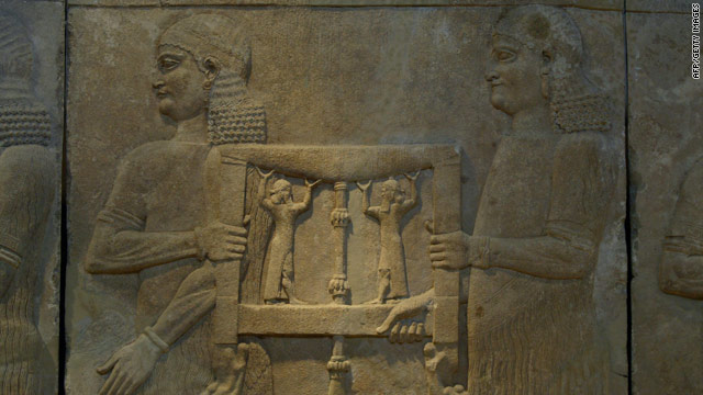 Artifacts such as this mural from 1894-1881 B.C. seen in the museum's Assyrian Hall will be shown on the virtual tour.