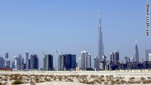 The Burj Dubai is the world's tallest skyscraper standing over 800 meters high.