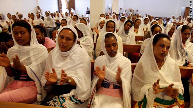 Ethiopian domestic workers attend church services in Beirut, Lebanon.