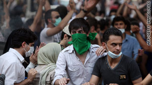 Authorities hope to avoid scenes like this one in Tehran in July, where people took to the streets over the elections.