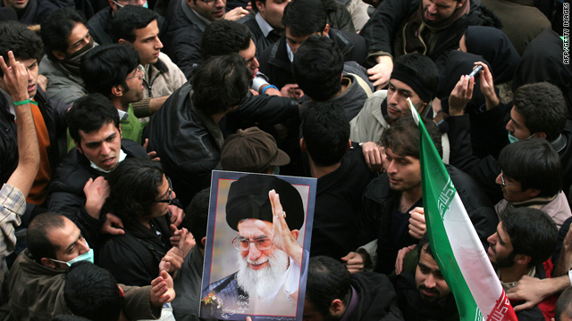 Iranian supporters of defeated presidential candidate Mir Hossein Mousavi clash with supporters of supreme leader Ayatollah Ali Khamenei in Tehran on December 7, 2009.