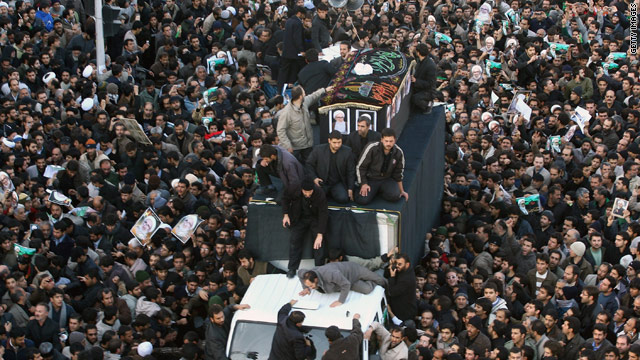 Thousands of people gathered at the funeral of a top Iranian cleric who died early Sunday.