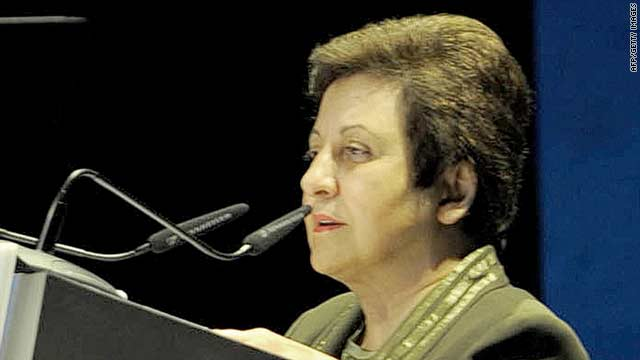 "Iranian Nobel Peace Prize laureate Shirin Ebadi gives a speech at the ""Festival of Thinkers"" in Abu Dhabi, United Arab Emirates, on November 2."