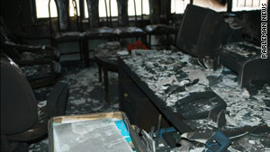 Photos said to be of reformist parliament member Nasrollah Torabi's office show it strewn with debris.