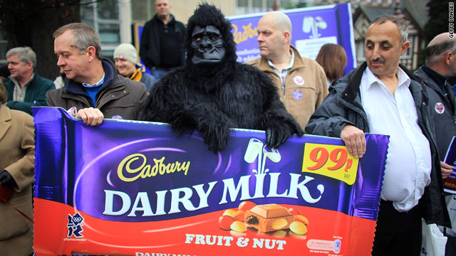 Cadbury employees protest in December 2009 against Kraft's takeover bid for the UK candy maker.