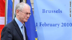 EU President Herman Van Rompuy said Greece must tackle its huge debt.