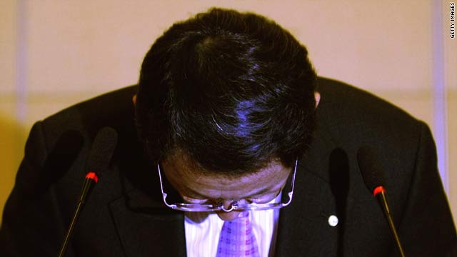 Toyota Motor Corporation President and CEO Akio Toyoda bows to offer a sincere apology on March 1 in Beijing, China.