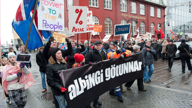 Protesters in Reykjavik March 6 demand that the government do more to improve economic conditions in Iceland.
