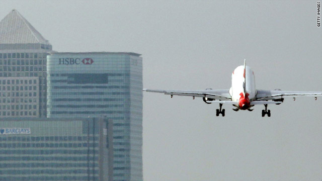 A British Airways airplane takes off from London City Airport.