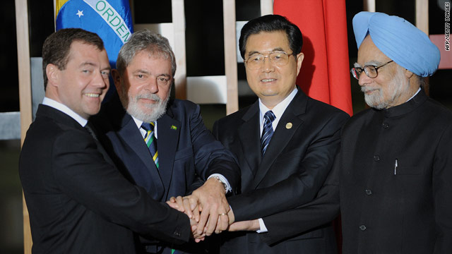 From left: Russia's President Dmitri Medvedev, Brazilian President Luiz Inacio Lula da Silva, China's President Hu Jintao and India's Prime Minister Manmohan Singh pose for the family photo of the II BRIC Summit in Brasilia on April 15.