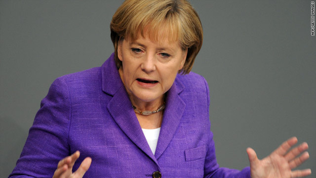 German Chancellor Angela Merkel is targeting speculators who she believes are jeopardizing the euro's future.