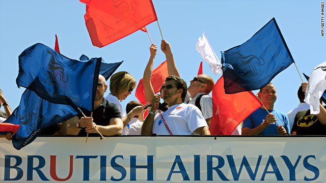 Cabin crew members on the first day of a five-day strike at Heathrow Airport on May 24.
