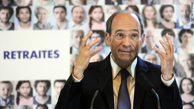 French labor minister Eric Woerth gestures during a press conference over reforms to the pension system.