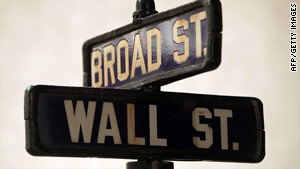 The famous Wall and Broad streets sign once stood in front of the J.P. Morgan and Co. bank building in New York.