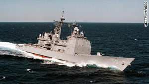 The USS San Jacinto, one of the vessels patrolling the Gulf of Aden.