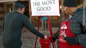The Salvation Army was among the top charities reporting declines in donations, the Chronicle of Philanthropy says.