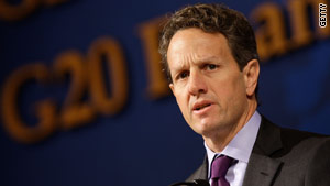 U.S. Treasury Secretary Timothy Geithner Saturday at the G20 Finance Ministers meeting in Gyeongju, South Korea.