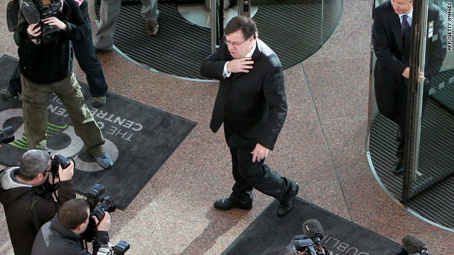 Irish Prime Minister Brian Cowen arrives to address the IBM Smart Camp Global Final event in Dublin, Ireland, on Nov. 18, 2010.