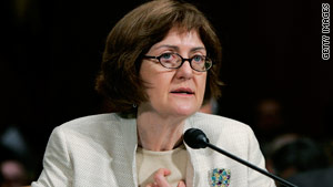 U.S. District Judge Joan Lefkow testifies before the Senate Judiciary Committee in 2005.