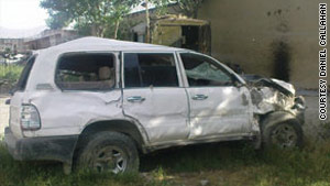 This vehicle driven by a contractor was hit in Kabul, Afghanistan, in May, leading to a deadly shooting.