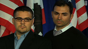 Jeffrey Zarrillo, left, and Paul Katami, who have been together for nine years, testified in the federal case.