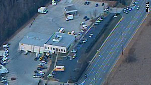 Aerial footage shows the scene of a workplace shooting Tuesday in Kennesaw, Georgia.