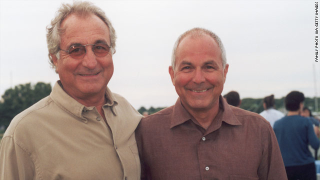 Peter Madoff, right, and brother Bernard Madoff are shown in Montauk, New York, in July 2002.