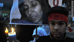 Aafia Siddiqui's son participates in an anti-U.S. protest in Karachi, Pakistan, on January 19.