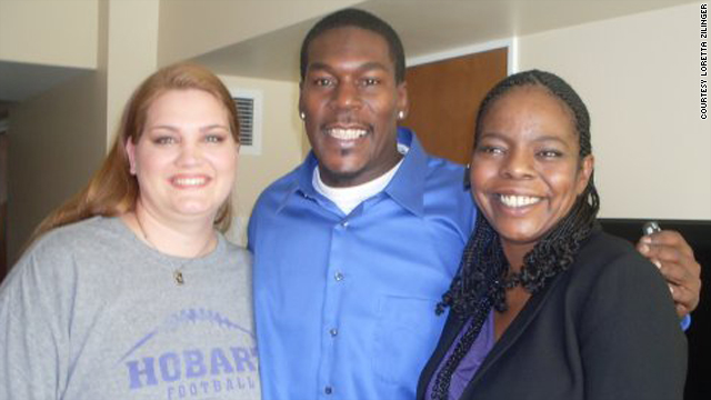 Loretta Zilinger, left, meets Dean Cage and his fiance, Jewel Mitchell, for lunch in January.