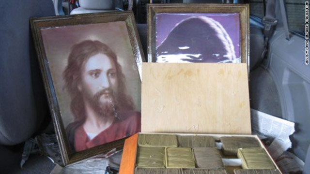 The U.S. Customs and Border Protection agency says it found marijuana hidden in framed pictures of Jesus Christ.