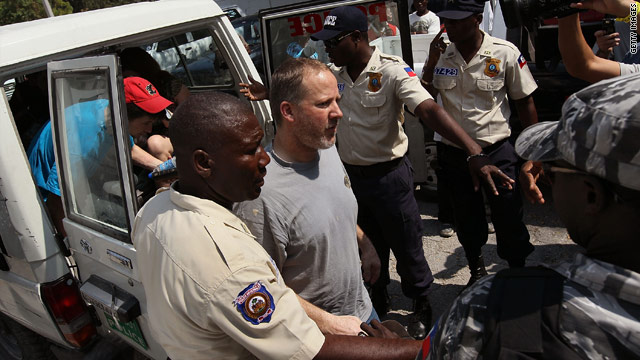 American Jim Allen arrives at a court hearing in Port-au-Prince, Haiti, last week.
