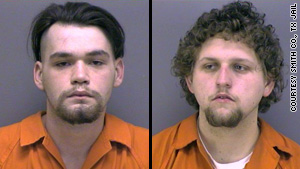 Daniel McAllister, left, and Jason Bourque are charged in one Texas church fire and suspected in others, authorities say.