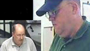 "The FBI released these pictures of the ""Granddad Bandit,"" suspected in 18 robberies."